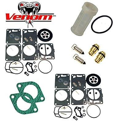 (Compatible With Sea-Doo) Premium Venom Brand Dual Mikuni Carburetor Rebuild Kit & Needle Seat & Carb Gasket With Water Separator/Fuel Filter FITS 1996-97 GSX & XP/1995-97 GTX/1997-99 SPX Complete KIT: Automotive