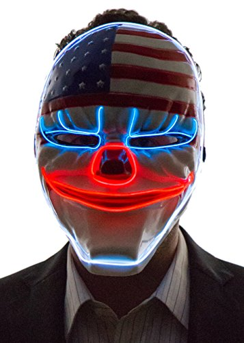Neon Nightlife Men's Light Up Creepy Clown USA Flag Mask, Blue, White & Red