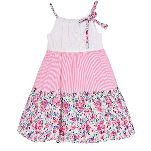 - Bonnie Jean Little Girls Pink Stripe Eyelet Floral Paneled Dress 5