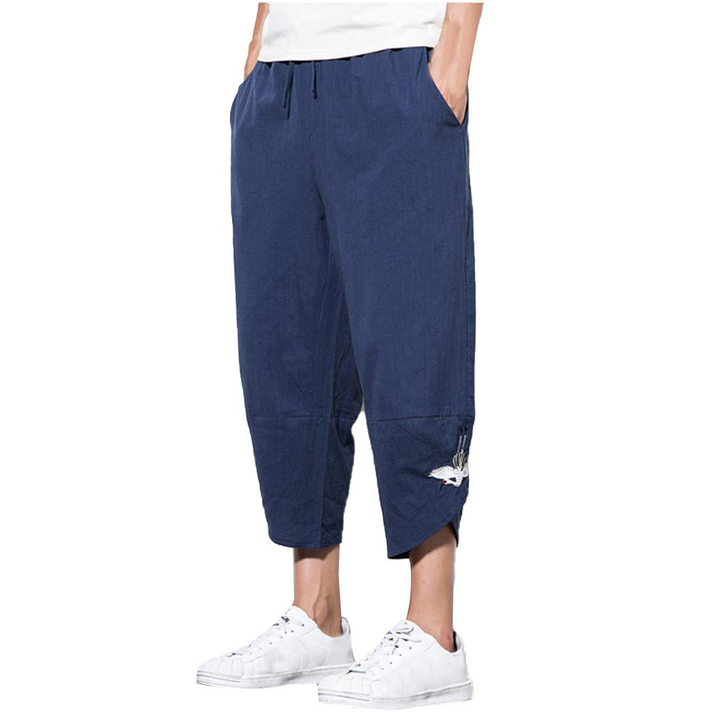 Sunyastor Mens Baggy Casual Trousers Cotton Linen Loose Harlan Pants Elastic Waist Wide Leg Pants Summer Fashion Pants Navy