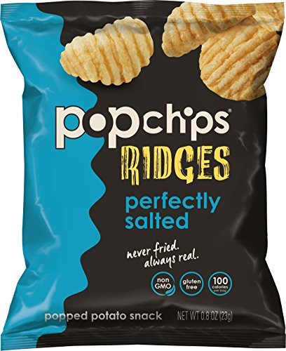 Popchips Ridged Potato Chips, Salted Potato Chips, 24 Count Single Serve Bags (0.8 oz), Gluten Free, Low Fat, No Artificial Flavoring