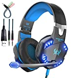 AWON Gaming Headset with Mic for PC,PS4,Xbox One,Over-ear Headphones with Volume Control LED Light Cool Style Stereo,Noise Reduction for Laptops,Smartphone,Computer (Blue)