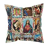 Roostery Fabric Silky Faille Throw Pillow Cover - Religious Catholic Saints Collage Jesus Mary by Anette Teixeira - Flanged Cover w Optional Insert