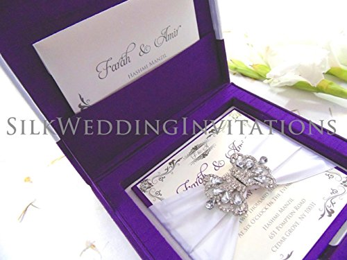 Luxury Silk Wedding Invitation Box with Buckle Rhinestone Embellishment Brooch and Satin Ribbon Bow - SAMPLE