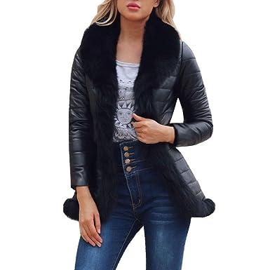 Resplend Frauen Warme Winter Faux Pelzkragen Mantel V-Ausschnitt Pelzmantel  Reißverschluss Parka Outwear Lederjacke Mantel 090c7ad932