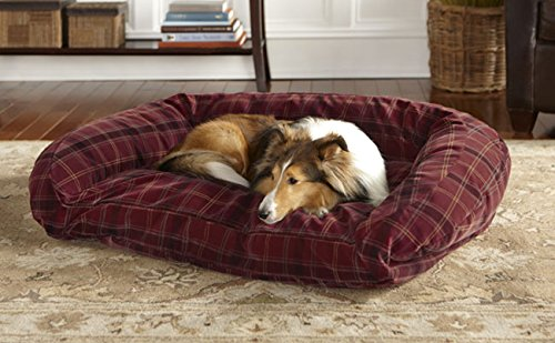Orvis Toughchew Comfortfill Bolster Dog Bed / Medium Dogs 40-60 Lbs., Field Tartan