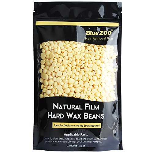 Bluezoo Cream Stripless Professional Hot Film Hair Removal Hard Wax Beads for Depilatory on All kinds of Skin Types,250g/Bag