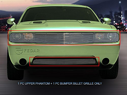 Fedar For 2011-2014 Dodge Challenger Phantom Bolt Over Style Polished Billet Grille Grill Combo 2pc -