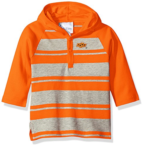 Two Feet Ahead NCAA Oklahoma State Cowboys Toddler Boys Rugby Long Sleeve Hooded Shirt, Size 2, Orange/Heather