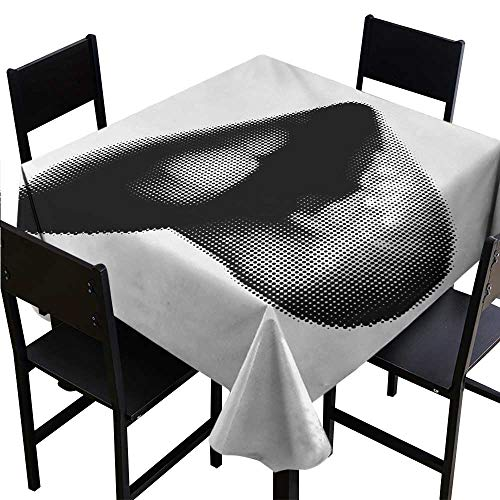 Jouiysce Tablecloth Weights Modern,Digital Dotted Spotted Stylized Sexy Happy Woman Lips Contemporary Display,Black Grey White 54