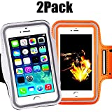 [2pack] Armband Phone Case 5.2 Inch Case for iPhone X,8,7,6,6S,SE,5C,5S,and Galaxy S5,Google Pixel [Water Resistant] Sports Exercise Running Pouch Reflective with Key Holder (Silver+Orange)