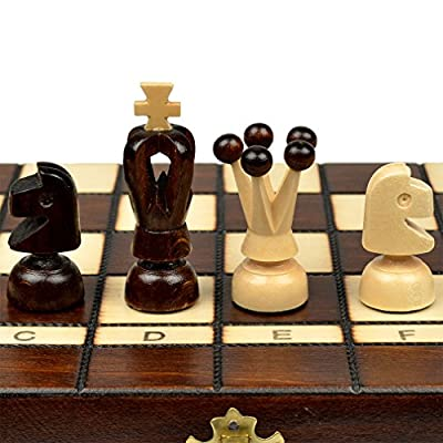 Small European Wooden Chess and Checkers Set - 13.8""