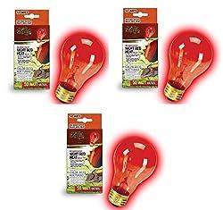 Zilla Incandescent Bulb, Night Red Heat, 50 Watt (3 Pack)
