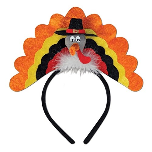 Club Pack of 12 Multi-Colored Thanksgiving Turkey Headband Costume Accessories by Party Central