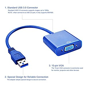 USB 3.0/2.0 Male to VGA Female Multi Monitor External Video Card Adapter for Windows 7/8 Multiple Monitors (blue)