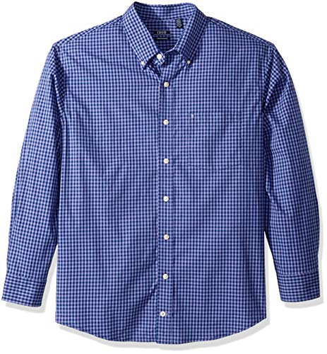 (IZOD Men's Premium Performance Natural Stretch Gingham Long Sleeve Shirt (Regular and Slim Fit))