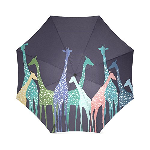 Romatic Valentine's Day Novelty Gifts Presents Cute Giraffe Design 100% Fabric And Aluminium Foldable High-quality Umbrella
