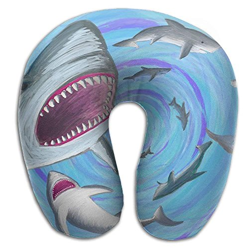 Price comparison product image Travel Pillow for Restful Sleep on an Airplane, Shark Whirlpool Memory Foam Neck Cushion