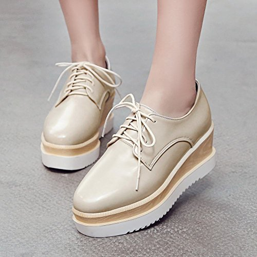 Charm Foot Mujeres Lace Up Plataforma Oxford Cuñas Zapatos Beige