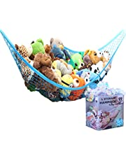 MiniOwls Toy Hammock Organizer - Toy Net Storage for Stuffies Space Saver. Corner Shelf to Display Collectible Toys. Ocean Bright Décor Accent. (Blue, Large)