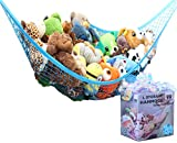 little boy room ideas MiniOwls Toy Storage Hammock Large Organizer and De-cluttering Solution for Every Boy's Room, Nursery & Playroom (Blue, L)