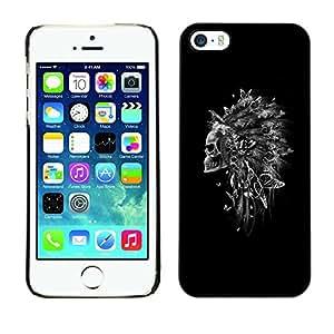 """For Apple iPhone 5 / 5S Case , Pluma india del tocado Cráneo Negro"""" - Diseño Patrón Teléfono Caso Cubierta Case Bumper Duro Protección Case Cover Funda"""