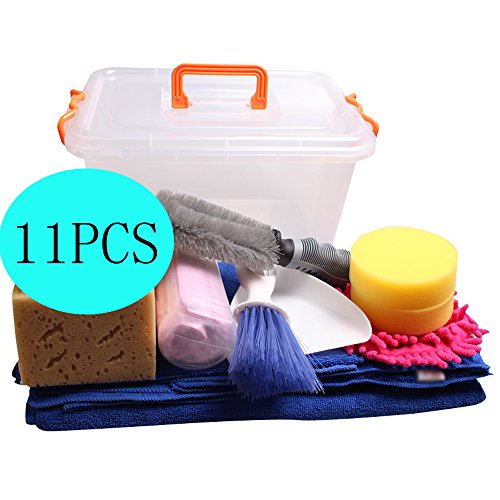 RZDEAL 11PCS DIY Car Wash Kit Microfiber Towels Chamois Towel Coral Sponge Waxing Sponge Wheel Hub Brush Single-sided Chenille Glove Tuyere Brush Storage Box Chamois Chenille