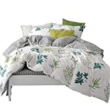 Auvoau Green Plants Pattern Cotton Reversible Summer Bedding Set Country Child Duvet Cover Set for Kids Bedding Set Full Size 4Piece