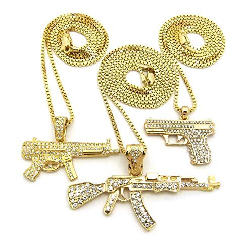 68aa391b88a9ca MENS ICED OUT MACHINE GUN AK 47 CHOPPER THUG LIFE MOB ...