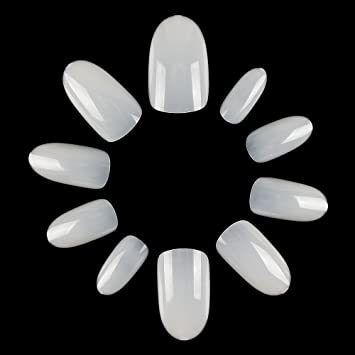 ECBASKET Acrylic Nail Tips Natural Fake Nails Short Oval Artificial Press On For Women