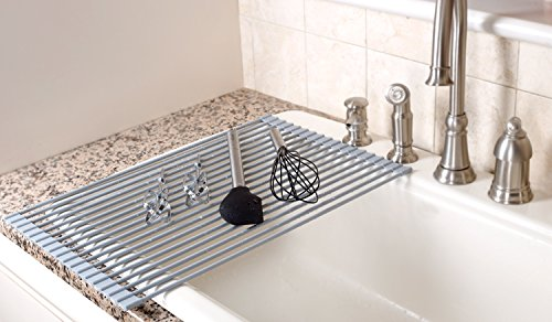 Elegant Chef Essential Over The Sink Roll Up Dish Drying Rack