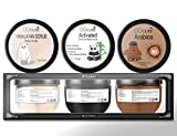 QQCute Body Scrub Gift Set, 2019 Himalayan Charcoal Coffee 3 in 1 Set with Essential Oil Natural Salt Scrubs To Exfoliate Moisturize Skin Care Treatment for Women Girlfriend Birthday Mother's Day Gift