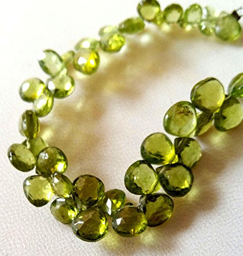 l PERIDOT faceted heart shaped briolettes,Peridot beads , 4 mm to 7 mm ()