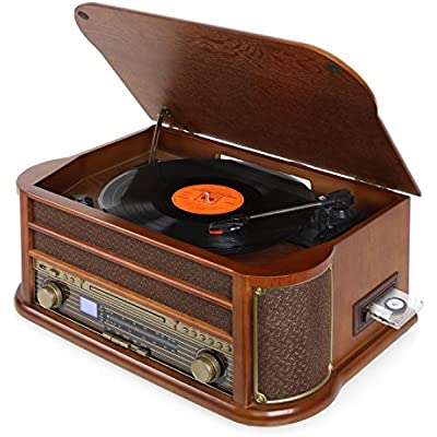 AUNA Belle Epoque 1908 Retro system  stereo  turntable  belt drive  stereo speakers  radio tuner  VHF receiver  USB slot  player  cassette deck  record player  Brown