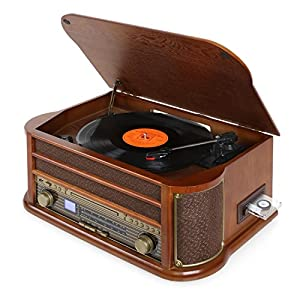 AUNA Belle Epoque 1908 – Retro system , stereo , turntable , belt drive , stereo speakers , radio tuner , VHF receiver , USB slot , CD player , cassette deck , record player , Brown