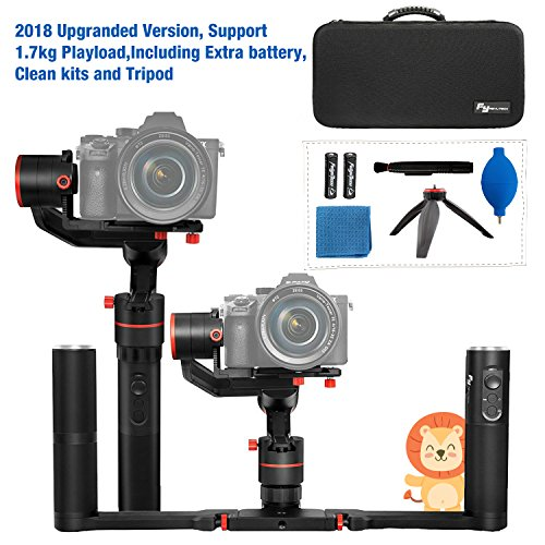 - Feiyutech a1000 Upgraded With Dual Grip Handle Kit 3-Axis Gimbal Stabilizer for NIKON/SONY/CANON Series DSLR Camera/GoPro Action Camera/Smartphone,1.7KG Payload,App control with carry bag and Tripod