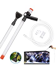 VavoPaw Fish Tank Cleaner, 5 in 1 Quick Water Changer Aquarium Cleaning Accessories, Aquarium Siphon Vacuum Gravel Cleaner Kit with Air-Pressing Button, Glass Scraper and Water Flow Controller