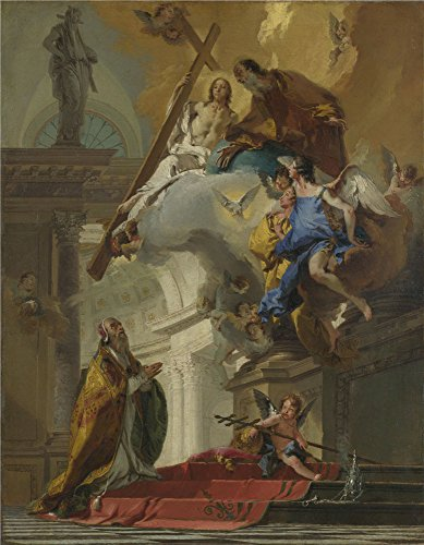 'Giovanni Battista Tiepolo A Vision Of The Trinity ' Oil Painting, 16 X 21 Inch / 41 X 52 Cm ,printed On High Quality Polyster Canvas ,this Vivid Art Decorative Prints On Canvas Is Perfectly Suitalbe For Basement Decoration And Home Decor And Gifts