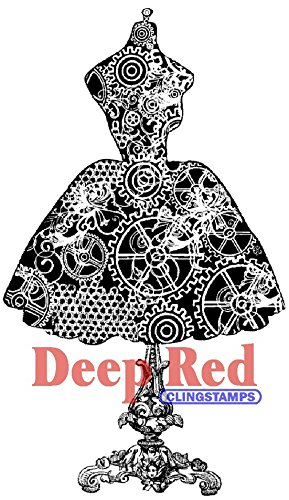Deep Red Stamps Dress Form Steampunk Rubber Stamp