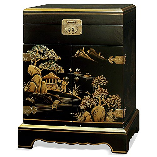 China Furniture Online Chinoiserie Jewelry Cabinet, 18 Inches Hand Painted Chinese Mountain Landscape Jewelry Chest Black