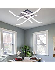 ALLOMN Led-plafondlamp, kroonluchter lamp modern gebogen design plafondlamp met 4 stuks gebogen licht voor woonkamer slaapkamer eetkamer (28W 4 lampen koel wit)