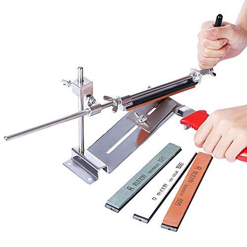 Afilador de cuchillos profesional con sistema de afilado de molinillo de cocina con 4 piedras, colormix