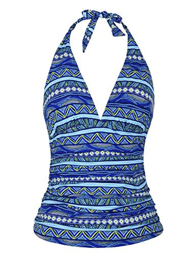 Shirred Halter Top (Mycoco Women's Halter Swim Top V Neck Swimwear Front Shirred Tankini Top Ripple Blue 16)