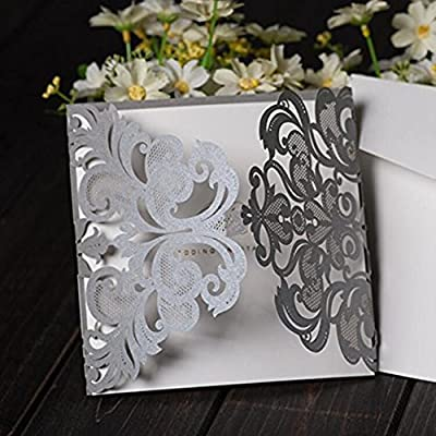 Luxury Silver Gray Laser Cut Lace Floral Wedding Invitation Invite Card, Cover Only (50PCS)