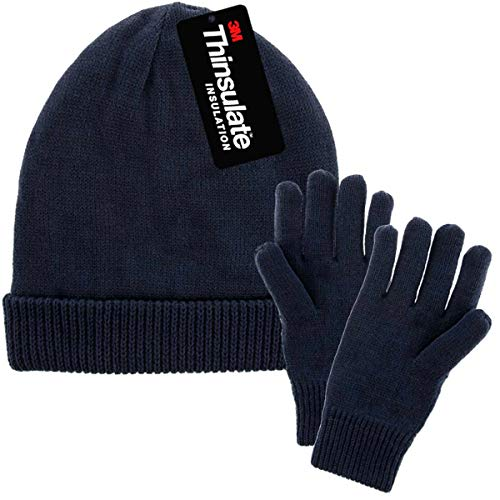 DG Hill Mens Winter Hat And Gloves Set with 3M Thinsulate fleece lining, Navy Blue, One Size