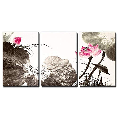 wall26 - 3 Panel Canvas Wall Art - Chinese Ink and Wash Painting Style Lotus Flowers - Giclee Print Gallery Wrap Modern Home Decor Ready to Hang - 16