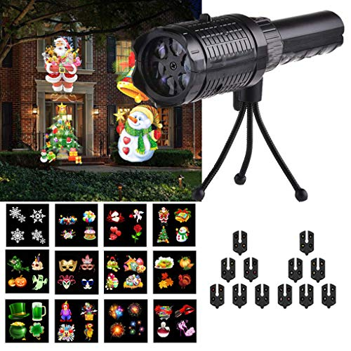 Christmas Projector Lights, LED Projection Light with 12 Pattern, Outdoor/Indoor Holiday Projector Light for Christmas, Halloween, Birthday Party -