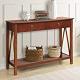 Harper&Bright Designs WF188585 Antique Console Entryway,Sofa Table with Drawers and Bottom Shelf (Cherry)