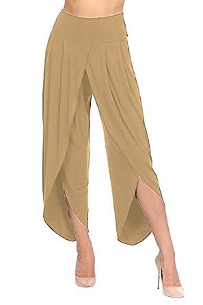 b938ef9670b COOleggings Womens Front Slit Flowy Layered Pleated Wide Leg Pants Apricot S