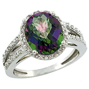 10K White Gold Natural Mystic Topaz Diamond Halo Ring Oval 11x9mm, size 5